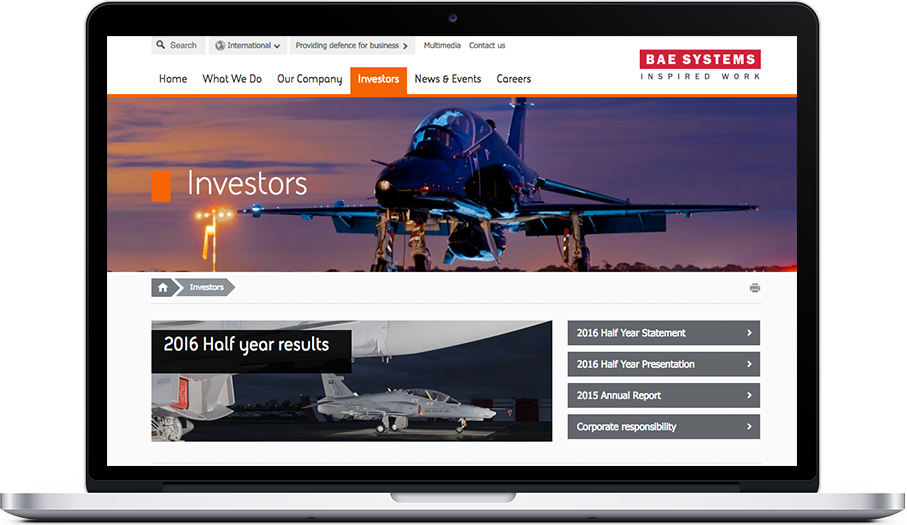 BAE Systems IR website